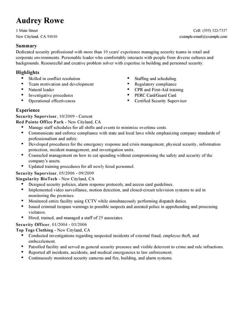 professional security supervisor resume examples safety livecareer brief background Resume Brief Background Summary For Resume