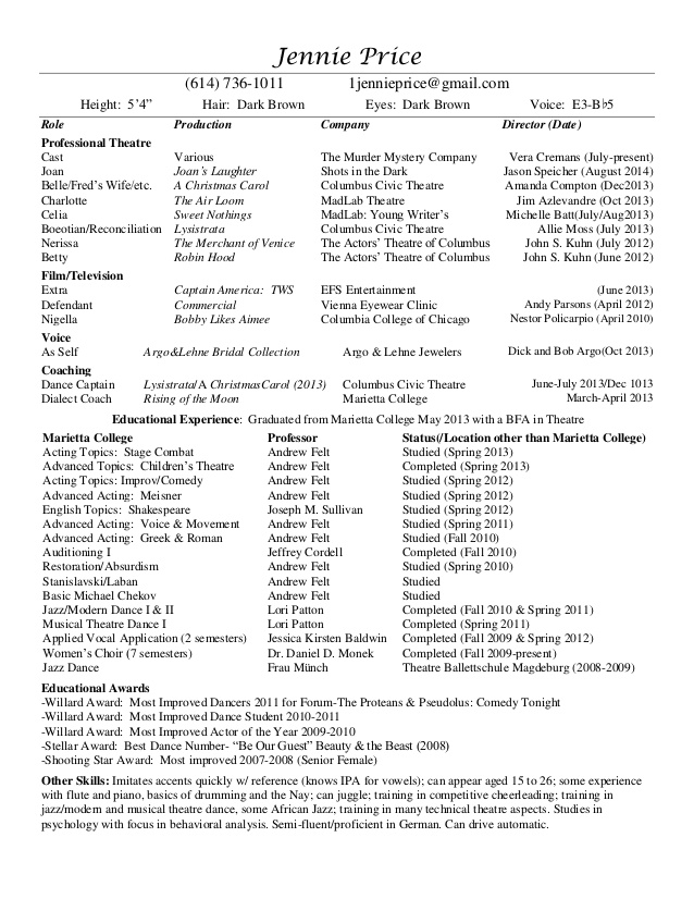 professional theatre resume listing certifications on healthcare product manager freight Resume Professional Theatre Resume