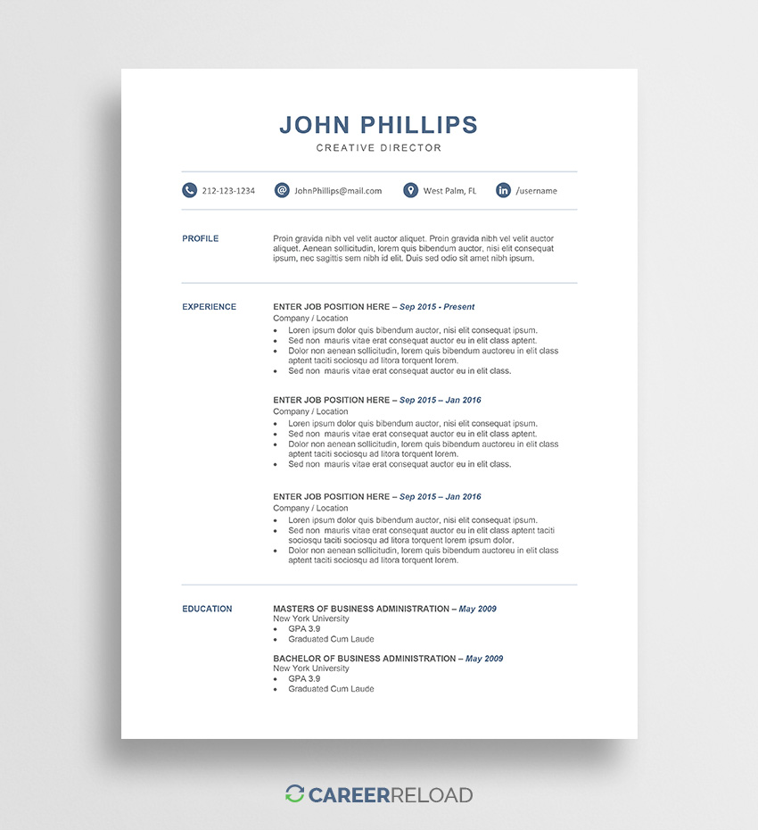 professional word resume template career reload free microsoft templates john sample for Resume Free Microsoft Word Resume Templates