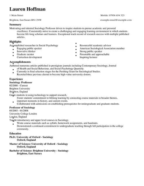 professor cv template samples examples resume for education full mba application Resume Resume Template For Professor