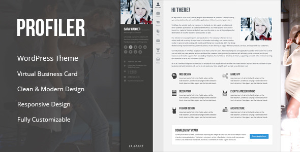 profiler vcard resume wordpress theme by templaza themeforest wp large preview marketing Resume Profiler Vcard Resume Wordpress Theme