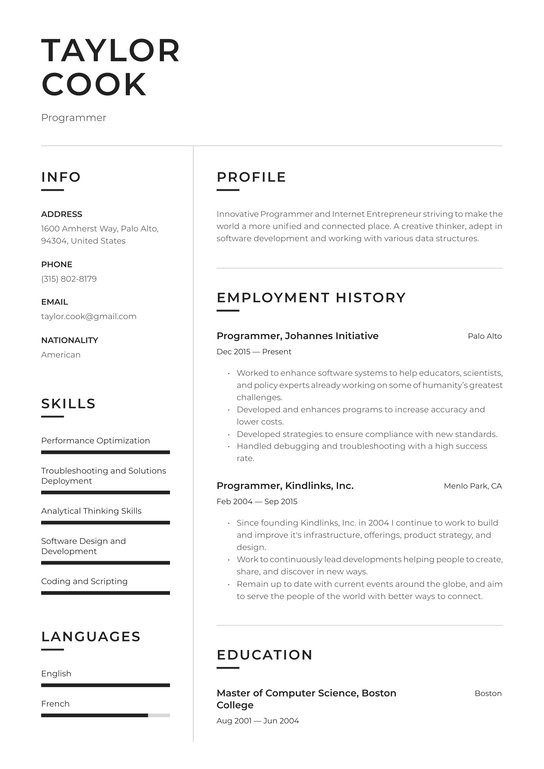 programmer resume examples writing tips free guide io chronological template maintenance Resume Chronological Resume Template 2021