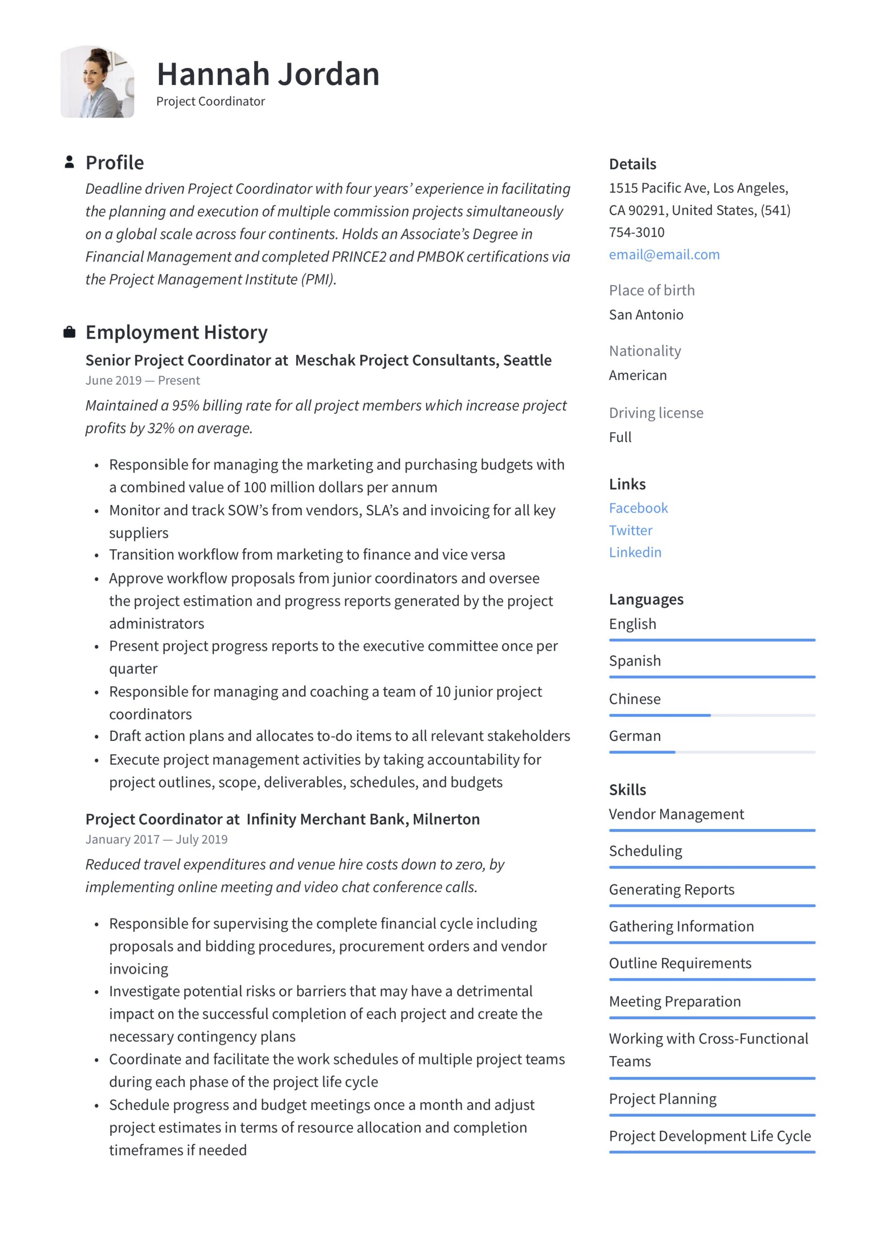 project coordinator resume writing guide examples sample for position free creative Resume Sample Resume For Coordinator Position