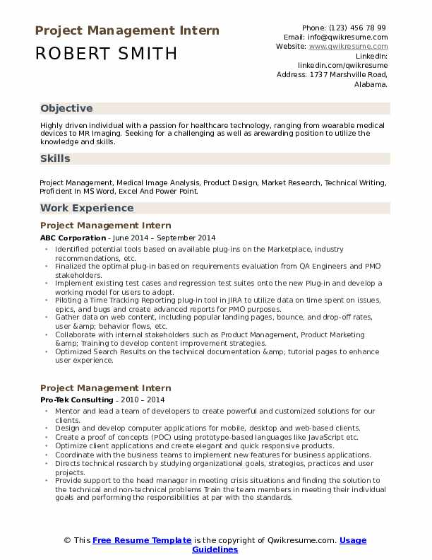 project management intern resume samples qwikresume objective for manager pdf service Resume Objective For Resume Project Manager