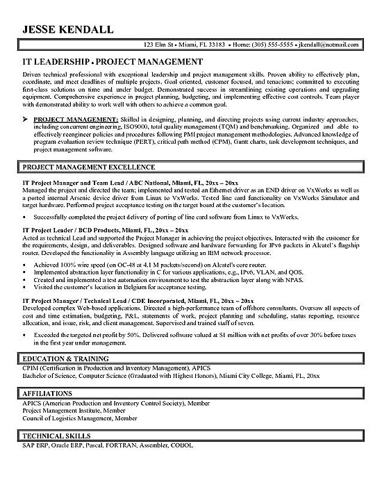 project manager resume example technical degree program for gym trainer job message email Resume Technical Project Manager Resume