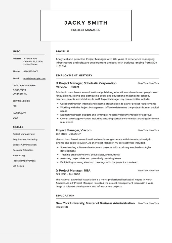 project manager resume examples full guide pdf word projects section example sample for Resume Resume Projects Section