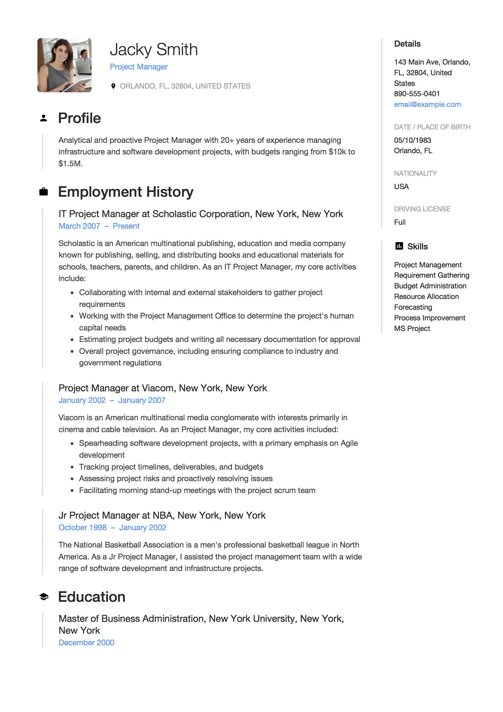project manager resume job examples responsibilities sous chef sample tmcf best writing Resume Project Manager Responsibilities Resume