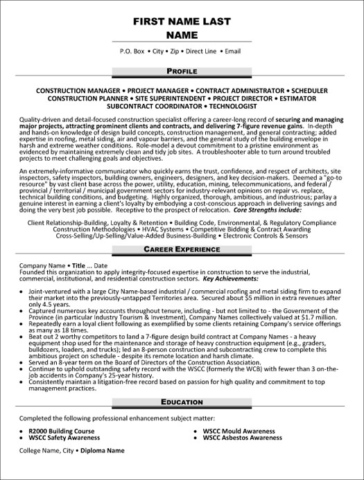 project manager resume sample template estimator construction technologist for practicum Resume Estimator Project Manager Resume