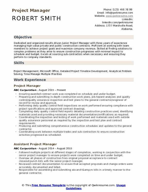 project manager resume samples qwikresume entry level construction pdf ats friendly Resume Entry Level Construction Manager Resume