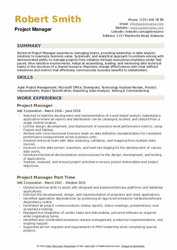 project manager resume samples qwikresume technical examples pdf wpm test for english Resume Technical Project Manager Resume Examples