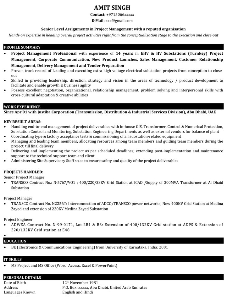 project manager resume samples sample for it naukri technical examples management Resume Technical Project Manager Resume Examples