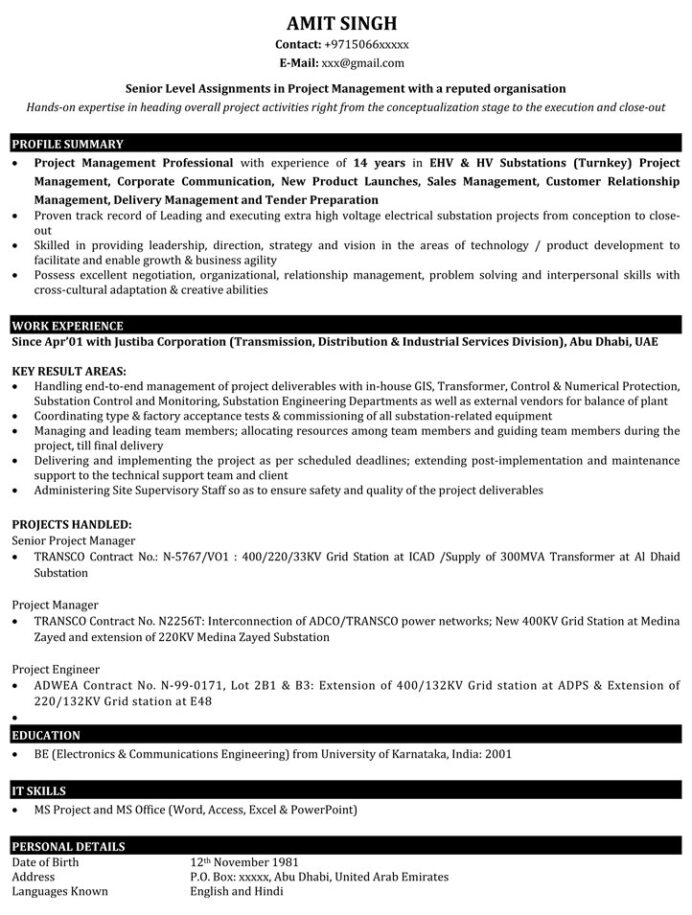 project manager resume samples sample for it naukri technical management applying summer Resume Technical Project Manager Resume