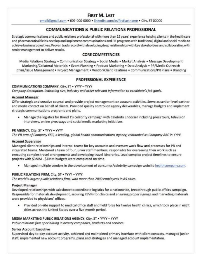 public relations resume sample professional examples topresume communications page1 data Resume Communications Major Resume