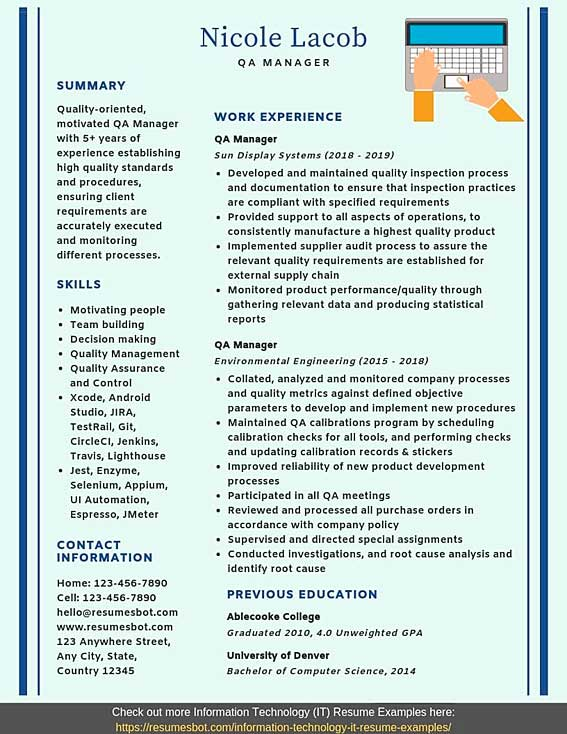 qa manager resume samples templates pdf word resumes bot format for quality control Resume Resume Format For Quality Control Manager