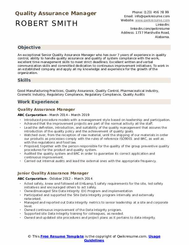quality assurance manager resume samples qwikresume format for control pdf international Resume Resume Format For Quality Control Manager