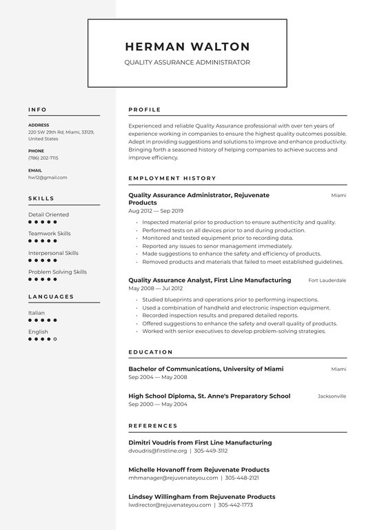 quality assurance resume examples writing tips free guide io manager workday integration Resume Quality Assurance Manager Resume