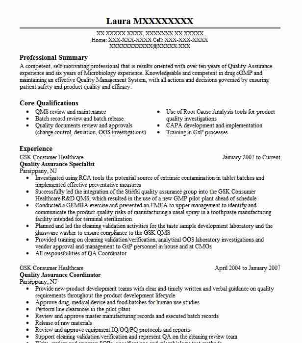 quality assurance specialist resume example livecareer template pre physician assistant Resume Quality Assurance Specialist Resume