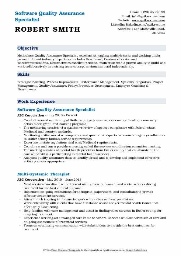 quality assurance specialist resume samples qwikresume pdf banking templates word fashion Resume Quality Assurance Specialist Resume