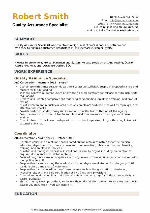 quality assurance specialist resume samples qwikresume pdf pre physician assistant Resume Quality Assurance Specialist Resume
