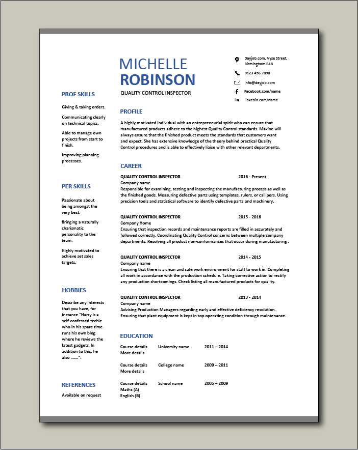 quality control inspector resume dayjob free template monster classic search with Resume Quality Inspector Resume