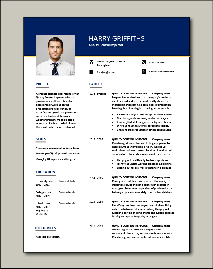 quality control inspector resume dayjob incharge free template voice samples job hopper Resume Quality Incharge Resume