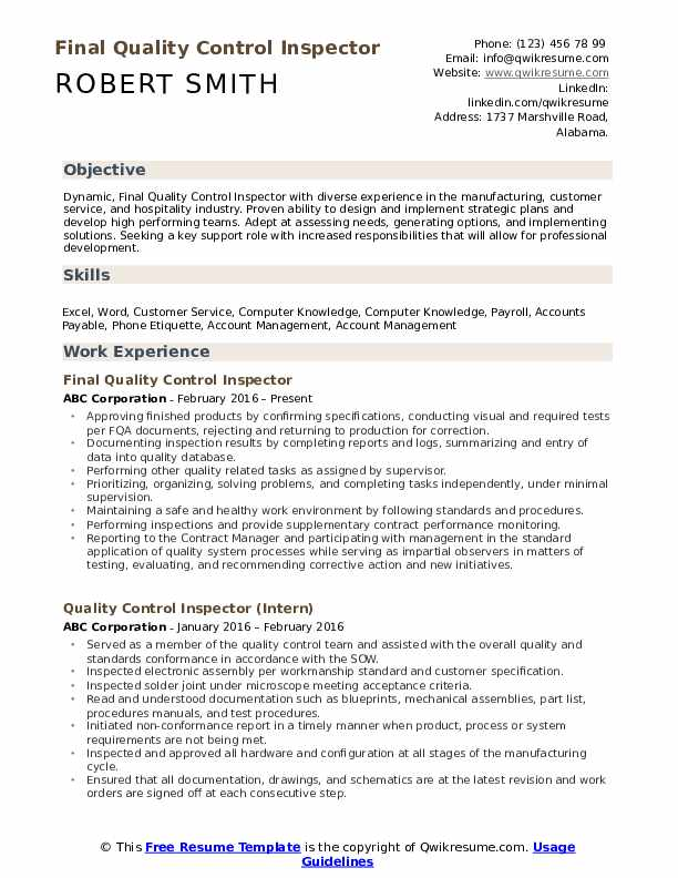 quality control inspector resume samples qwikresume pdf flight attendant examples Resume Quality Inspector Resume