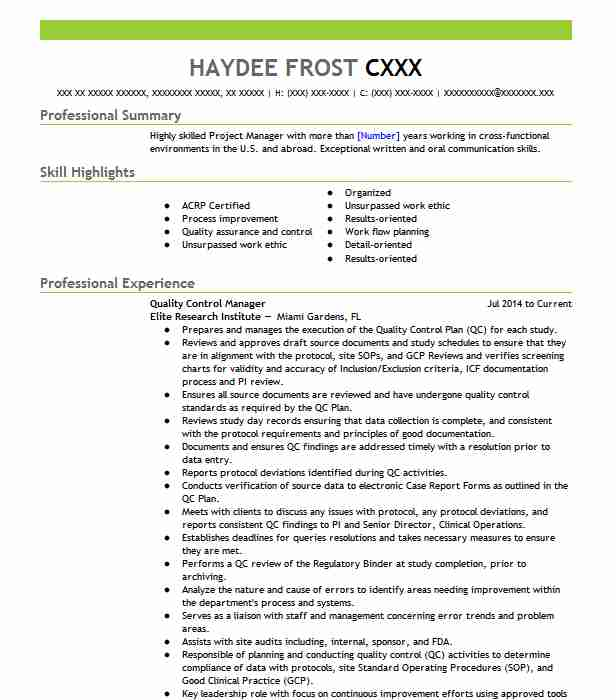 quality control manager resume example livecareer incharge beer sample personal data Resume Quality Incharge Resume
