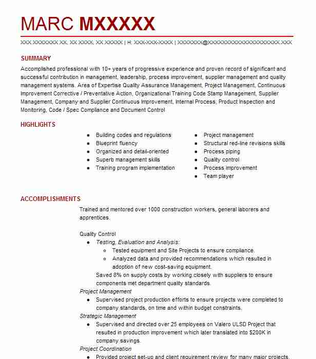 quality control manager resume example livecareer incharge freight forwarder sample voice Resume Quality Incharge Resume