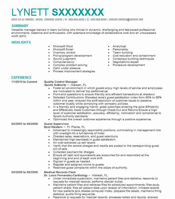 quality control manager resume example livecareer incharge sample personal data sheet Resume Quality Incharge Resume