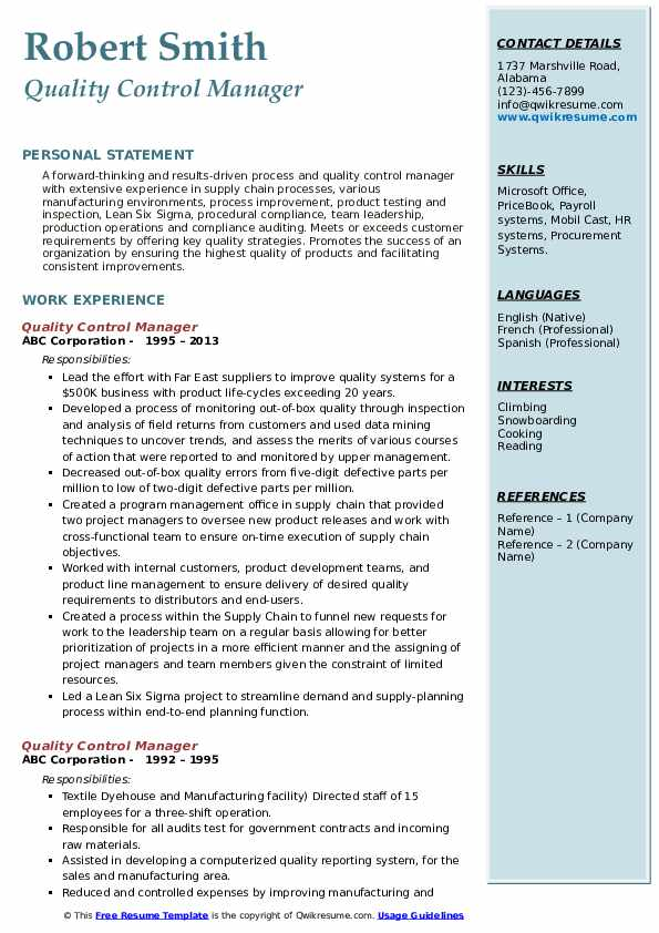 quality control manager resume samples qwikresume format for pdf commercial property Resume Resume Format For Quality Control Manager