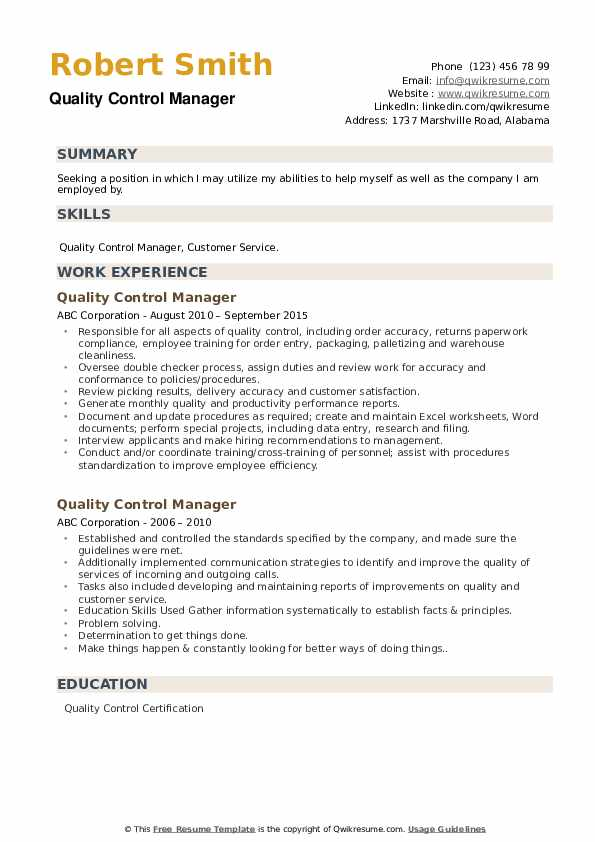 quality control manager resume samples qwikresume format for pdf project management Resume Resume Format For Quality Control Manager