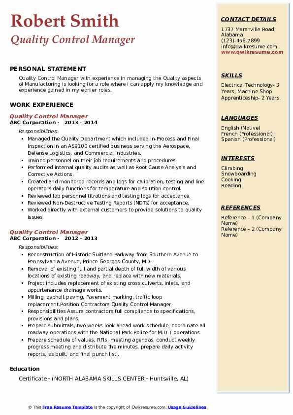 quality control manager resume samples qwikresume format for pdf quick builder best Resume Resume Format For Quality Control Manager