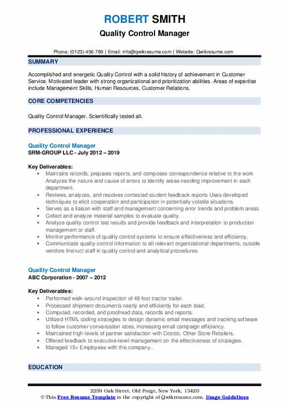 quality control manager resume samples qwikresume format for pdf quick builder objective Resume Resume Format For Quality Control Manager
