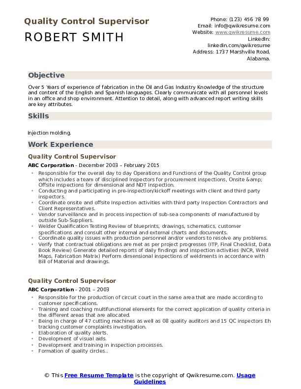 quality control supervisor resume samples qwikresume incharge pdf vita simple builder Resume Quality Incharge Resume