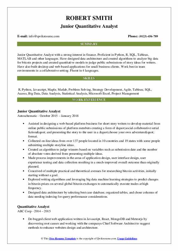 quantitative analyst resume samples qwikresume examples pdf template for recommendation Resume Quantitative Resume Examples