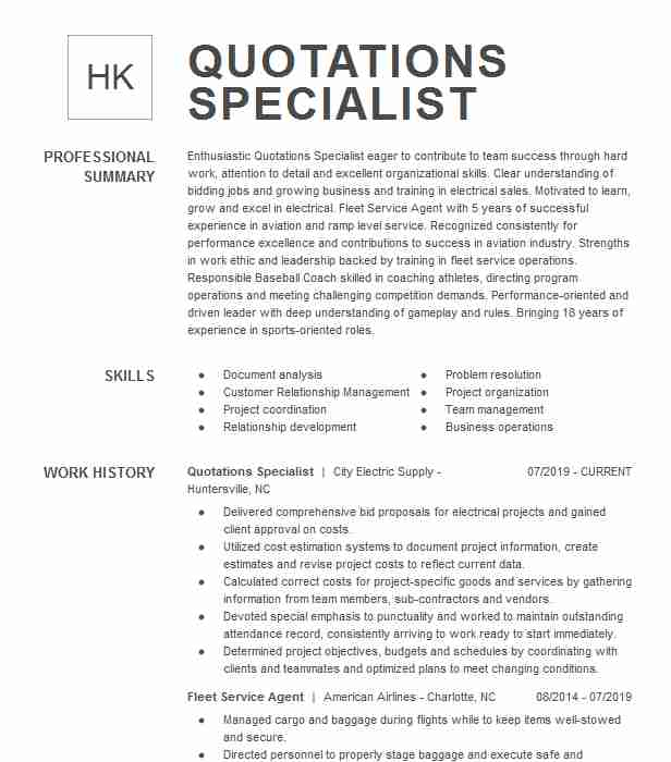 quotations specialist resume example hubbell lighting duncan south carolina quotation Resume Quotation Specialist Resume