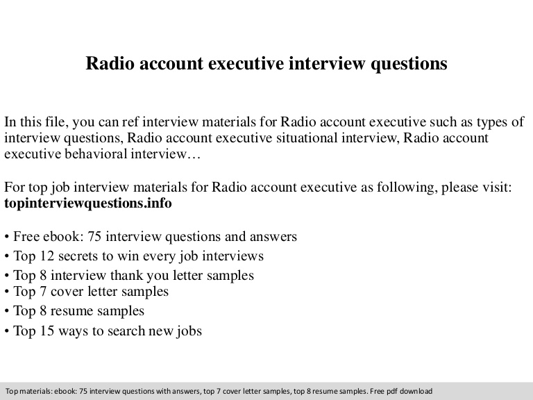 radio account executive interview questions resume Resume Radio Account Executive Resume