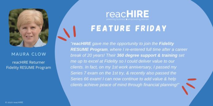 reachire on featuring terrific fidelity resume program participant maura clow shares Resume Fidelity Investments Resume