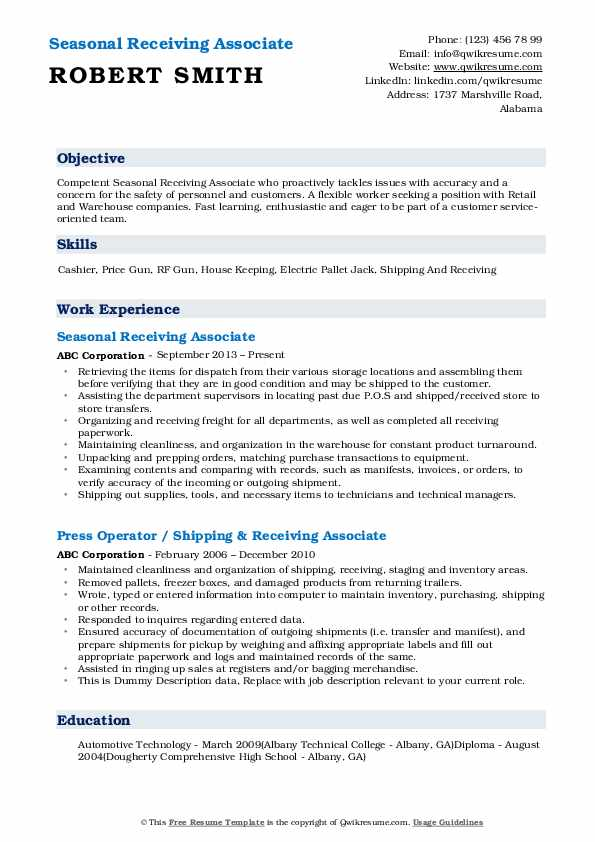 receiving associate resume samples qwikresume shipping and pdf legal writing services Resume Shipping And Receiving Associate Resume