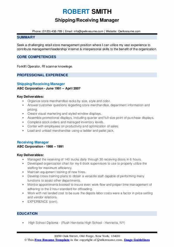 receiving manager resume samples qwikresume shipping and sample pdf church office Resume Shipping And Receiving Manager Resume Sample