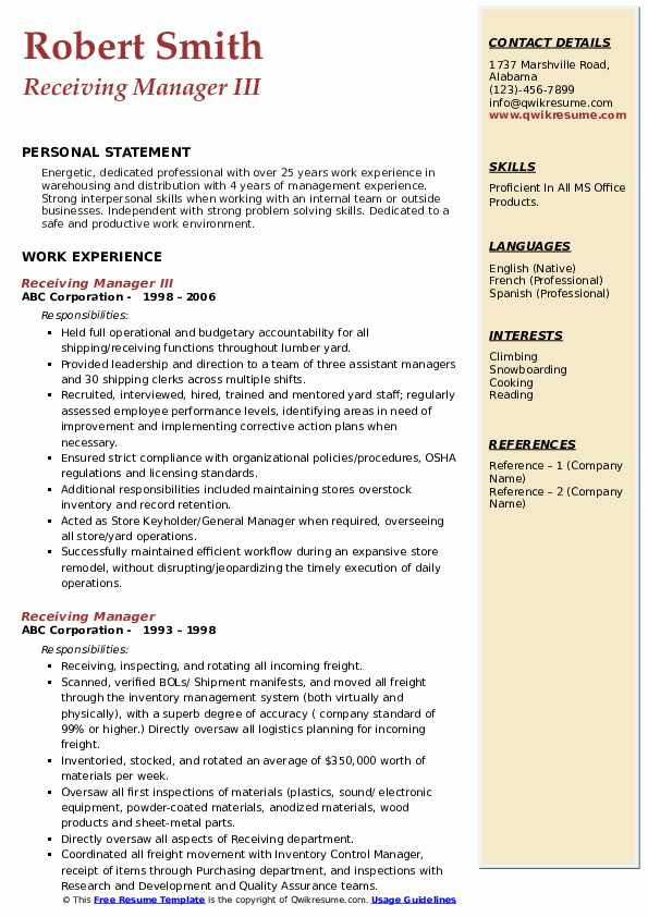receiving manager resume samples qwikresume shipping and sample pdf concierge graphic Resume Shipping And Receiving Manager Resume Sample