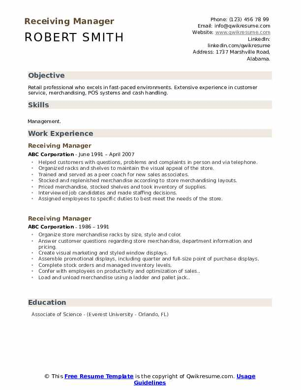 receiving manager resume samples qwikresume shipping and sample pdf format for Resume Shipping And Receiving Manager Resume Sample