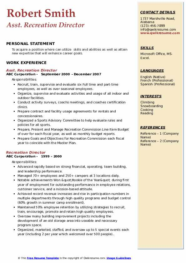 recreation director resume samples qwikresume pdf common templates xfinity smart for Resume Recreation Director Resume
