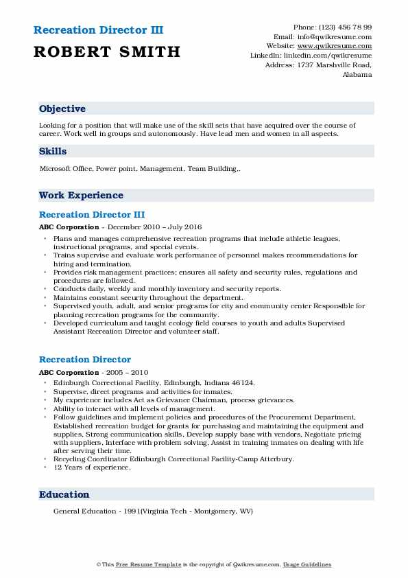 recreation director resume samples qwikresume pdf forecasting skills for job definition Resume Recreation Director Resume