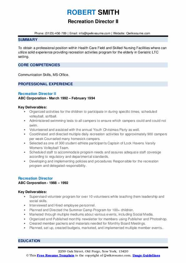 recreation director resume samples qwikresume pdf millennial strong introduction Resume Recreation Director Resume
