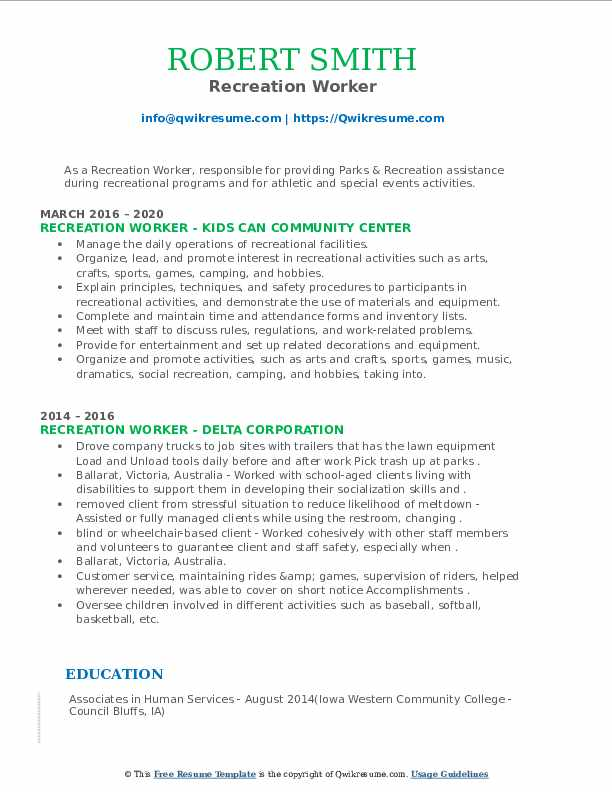 recreation worker resume samples qwikresume pdf extracurricular free sample templates for Resume Recreation Worker Resume