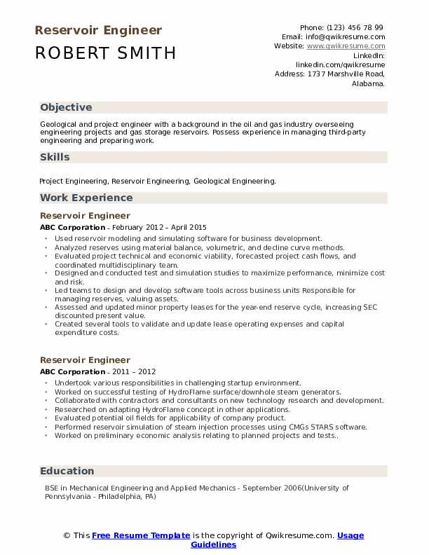 reservoir engineer resume samples qwikresume objective for oil and gas pdf compliance Resume Objective For Resume Oil And Gas