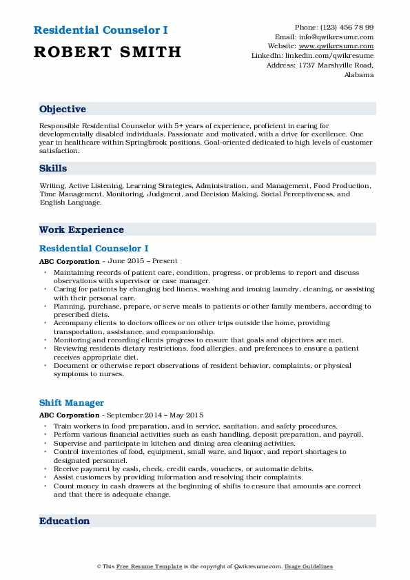 residential counselor resume samples qwikresume pdf chief example fax your chronological Resume Residential Counselor Resume