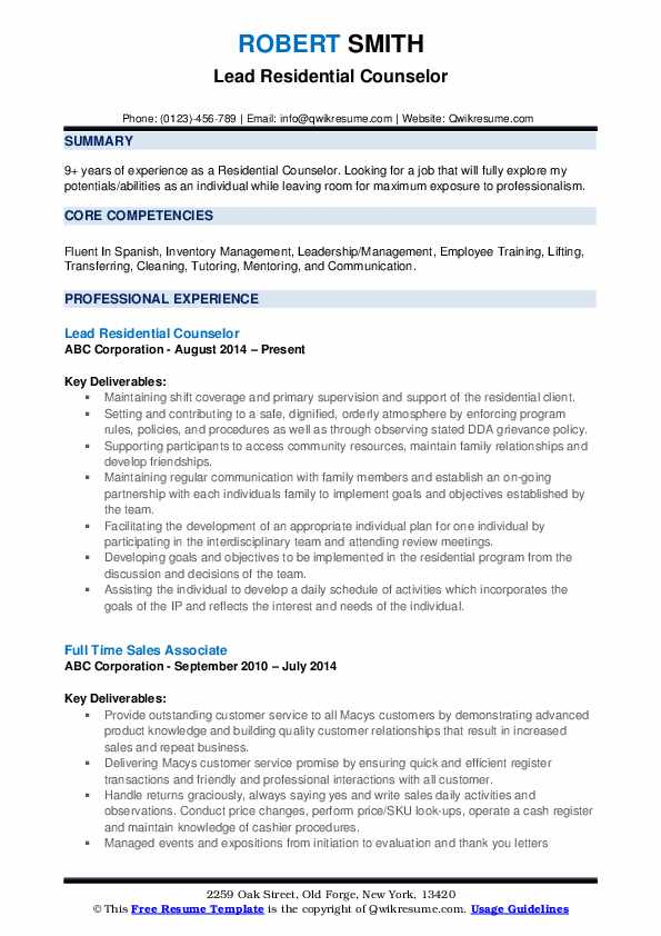 residential counselor resume samples qwikresume pdf computer science graduate industrial Resume Residential Counselor Resume