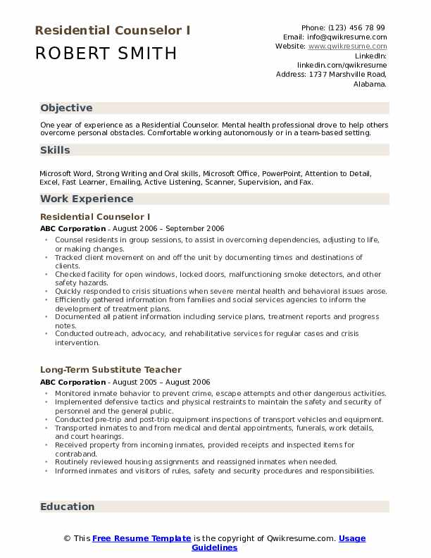 residential counselor resume samples qwikresume pdf include address on industrial Resume Residential Counselor Resume